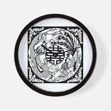 Chinese Dragon & Phoenix Symb Wall Clock