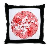 Asian red Throw Pillows