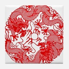 Chinese Twin Dragons Symbol Tile Coaster