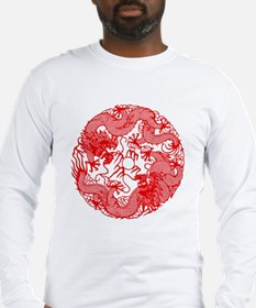 Chinese Twin Dragons Symbol Long Sleeve T-Shirt
