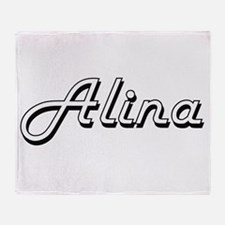 Alina Classic Retro Name Design Throw Blanket