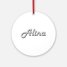 Alina Classic Retro Name Design Ornament (Round)