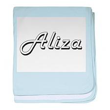 Aliza Classic Retro Name Design baby blanket