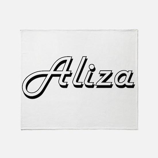 Aliza Classic Retro Name Design Throw Blanket