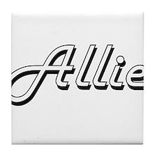 Allie Classic Retro Name Design Tile Coaster