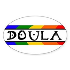 Doula Rainbow Oval Decal
