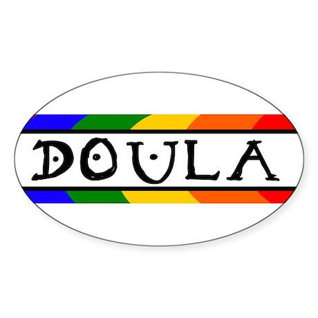 Doula Rainbow Oval Sticker