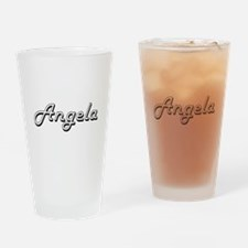 Angela Classic Retro Name Design Drinking Glass