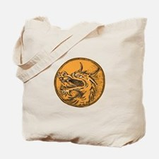 Chinese Dragon Head Circle Etching Tote Bag