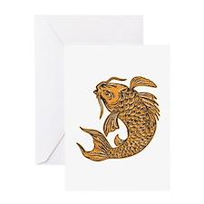 Koi Nishikigoi Carp Fish Jumping Etching Greeting