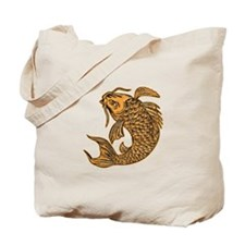 Koi Nishikigoi Carp Fish Jumping Etching Tote Bag