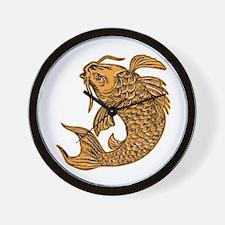 Koi Nishikigoi Carp Fish Jumping Etching Wall Cloc