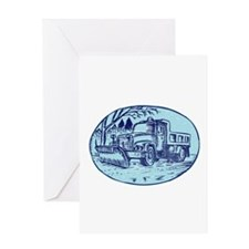 Snow Plow Truck Oval Etching Greeting Cards