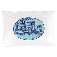 Snow Plow Truck Oval Etching Pillow Case