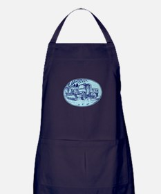 Snow Plow Truck Oval Etching Apron (dark)