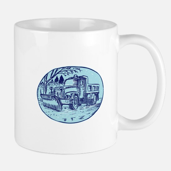 Snow Plow Truck Oval Etching Mugs