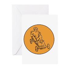 Rider Riding Soapbox Etching Greeting Cards