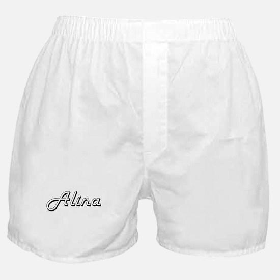 Alina Classic Retro Name Design Boxer Shorts
