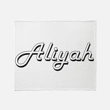 Aliyah Classic Retro Name Design Throw Blanket