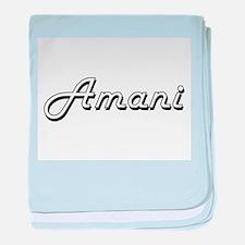 Amani Classic Retro Name Design baby blanket