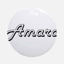 Amara Classic Retro Name Design Ornament (Round)