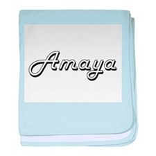 Amaya Classic Retro Name Design baby blanket