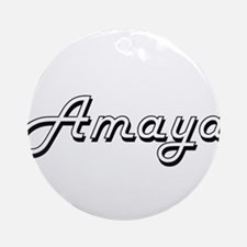 Amaya Classic Retro Name Design Ornament (Round)