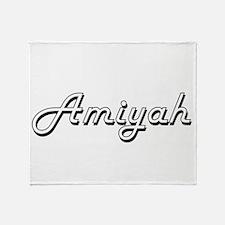 Amiyah Classic Retro Name Design Throw Blanket