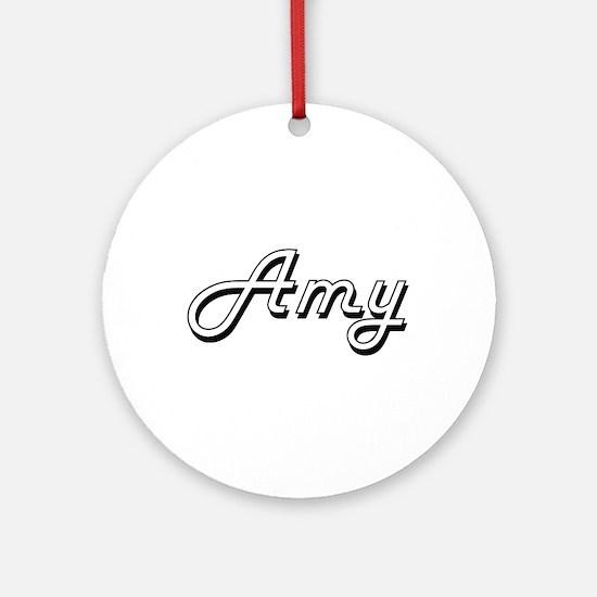 Amy Classic Retro Name Design Ornament (Round)