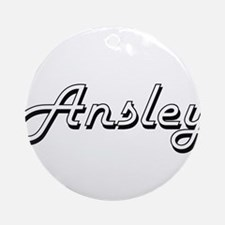 Ansley Classic Retro Name Design Ornament (Round)