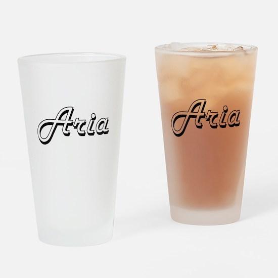 Aria Classic Retro Name Design Drinking Glass