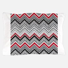 Black Red Gray Chevron Pillow Case