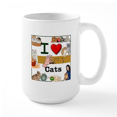 I Love Cats in ASL Large Mug
