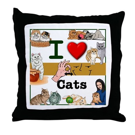 I Love Cats in ASL Throw Pillow