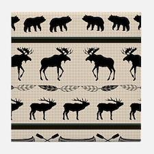 Mountain Cabin Blanket Design Tile Coaster