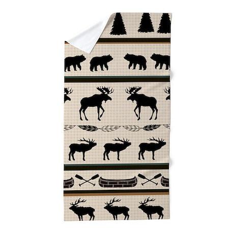 Mountain Cabin Blanket Design Beach Towel By Designer