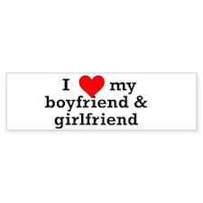 I Love My Boyfriend & Girlfriend Bumper Sticke