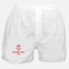 Keep Calm and Hearing Aids ON Boxer Shorts