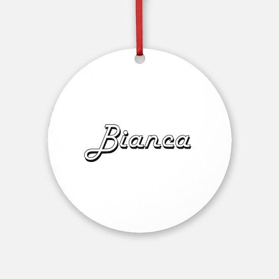 Bianca Classic Retro Name Design Ornament (Round)