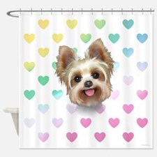 Yorkie Hearts Shower Curtain