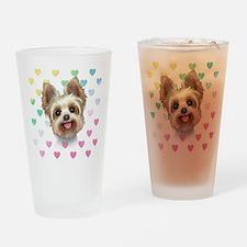 Yorkie Hearts Drinking Glass