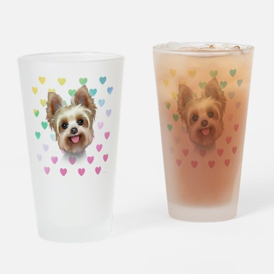 Yorkie Hearts Drinking Glass