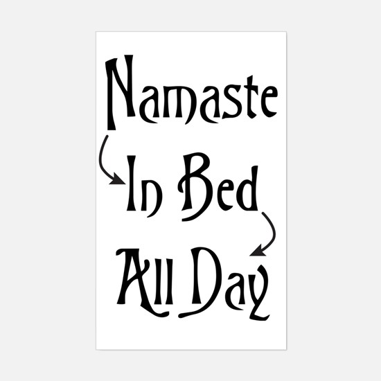 Namaste In Bed All Day Sticker (Rectangle)