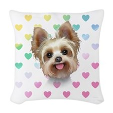 Yorkie Hearts Woven Throw Pillow