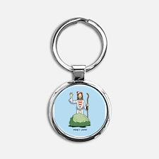 There's Jesus! Round Keychain