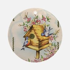 Cute Birdhouse Round Ornament