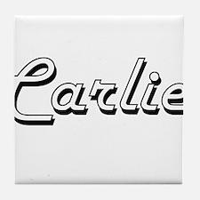 Carlie Classic Retro Name Design Tile Coaster