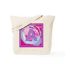 Letter A Watercolor Swirls Monogram Tote Bag