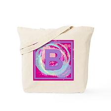 Letter B Watercolor Swirls Monogram Tote Bag