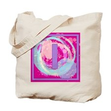 Letter I Watercolor Swirls Monogram Tote Bag